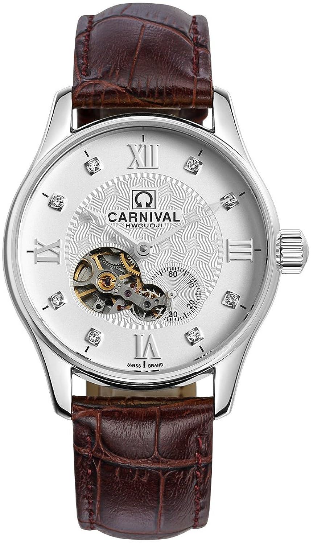 mastop Watch Hollow Flywheel Automatic Mechanical Watches 3dパースLeatherbandメンズ腕時計ホワイト B01F06CRR2
