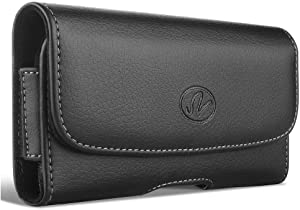 Wonderfly Horizontal Holster Compatible with Apple iPhone SE 2020, iPhone 8 or iPhone 7, a XL Leather Carrying Case with Belt Clip and Belt Loops, Fits The Phone with Battery Extender or Battery Case
