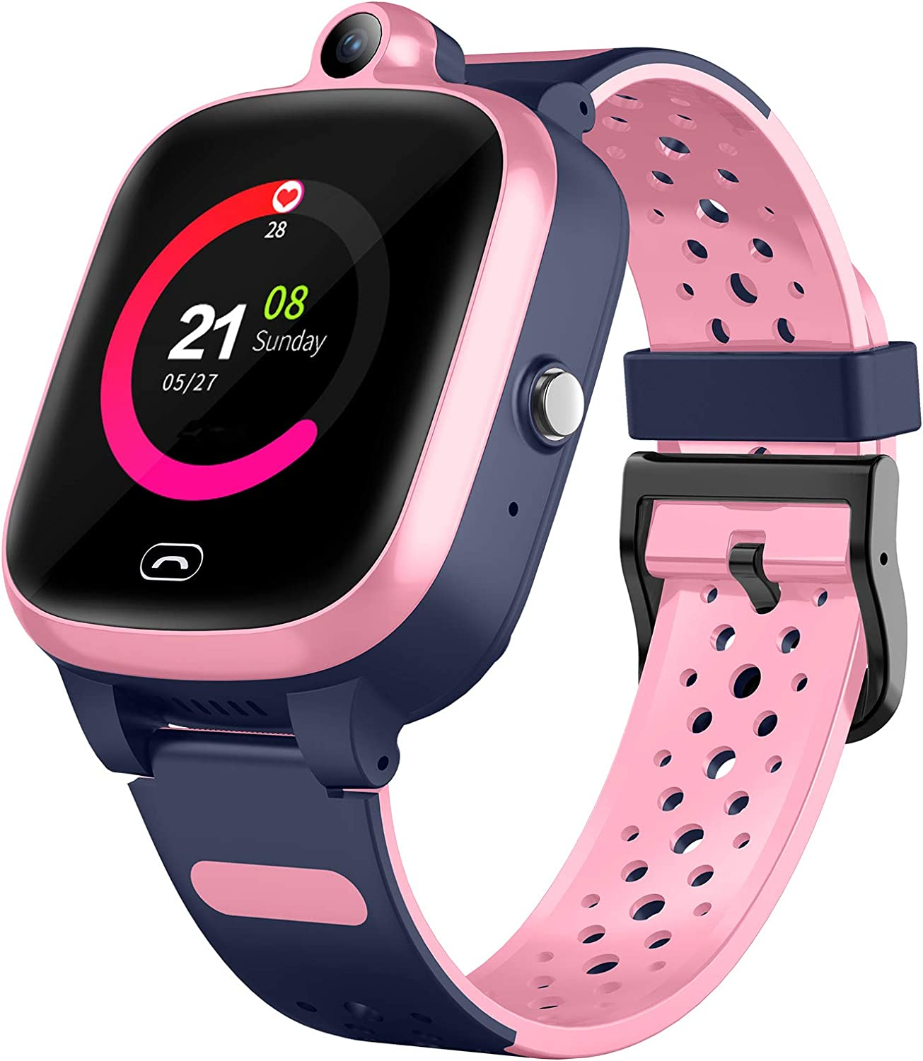 4G Smart Watch for Kids - Smartwatch with GPS WiFi LBS Tracker Real Time Position HD Touch Screen SOS Video Call Waterproof Message Compatible Android and iOS for Boys Girls (Pink)