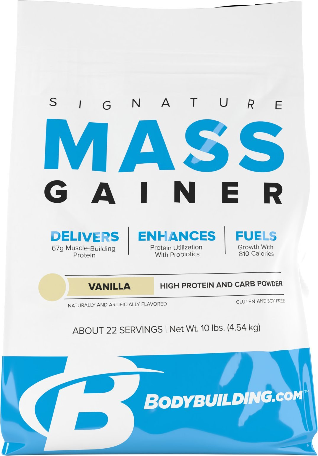 BodyBuilding.Com Signature Mass Gainer Protein Powder Vanilla | Muscle Builder | 67g Lean Muscle Gaining Protein | 10 pounds, 22 Servings