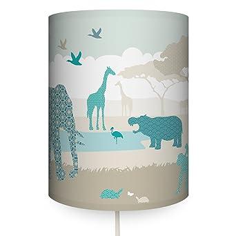 Attraktiv Anna Wand Wandlampe HELLO AFRIKA BEIGE/TÜRKIS/GRAU U2013 Wandlampenschirm Mit  Stoffkabel Zum Aufhängen