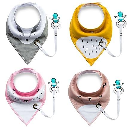 Baberos de bebé con cadena de chupete para niña o niño-4 piezas (chupete no incluido) (A)