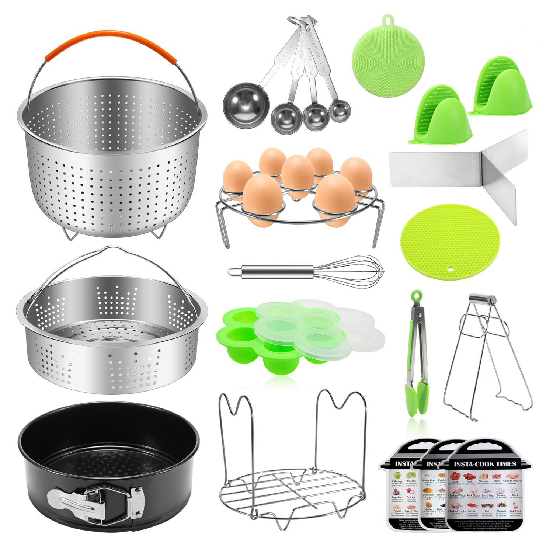 Antimi 21PCS Pressure Cooker Accessories Set For Instant Pot 5,6,8 QT, Steamer Basket, Springform Pan, Egg Bites Molds, Steamer Rack, Dish Clip, Whisk, Oven Mitts&Trivet Mats&Scrub Pad (21)