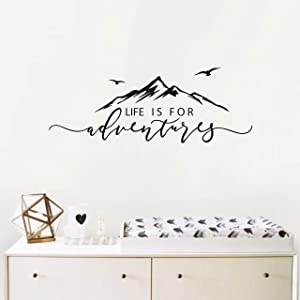 Life is for Adventures Wall Decal, Quote Decal, Mountain Design Wall Decals, Flying Birds Wall Sticker, Travel Decor, Adventure Decor, Home Decal Wall Stickers Y15 (57X23cm, Black)