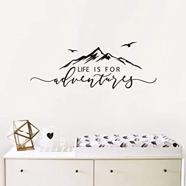 Life is for Adventures Wall Decal, Quote Decal, Mountain Design Wall Decals, Flying Birds Wall Sticker, Travel Decor, Adventure Decor, Home Decal Wall Stickers(Y15) (57X23cm, Black)