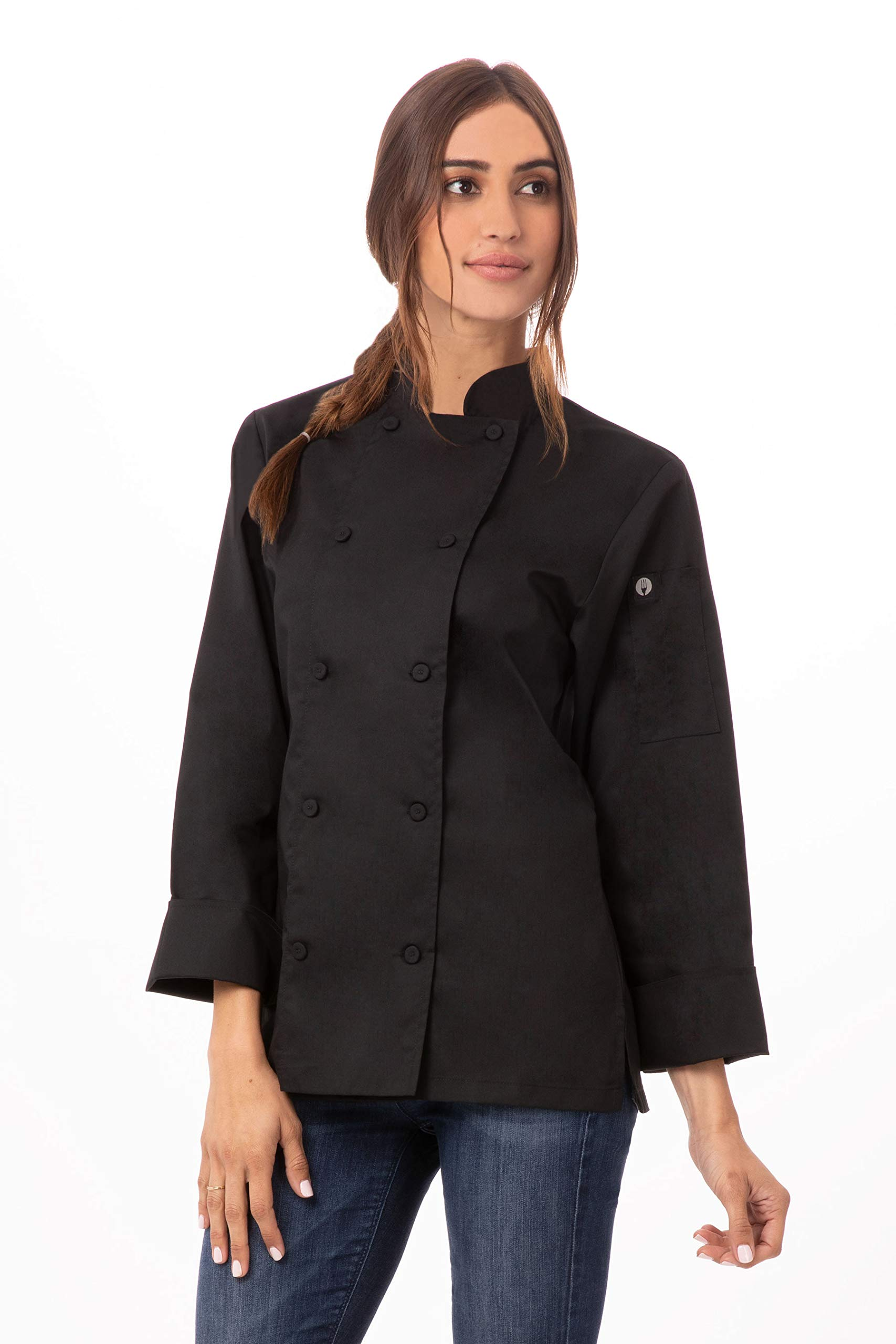 Chef Works Women's Sofia Chef Coat, Black, Medium by Chef Works