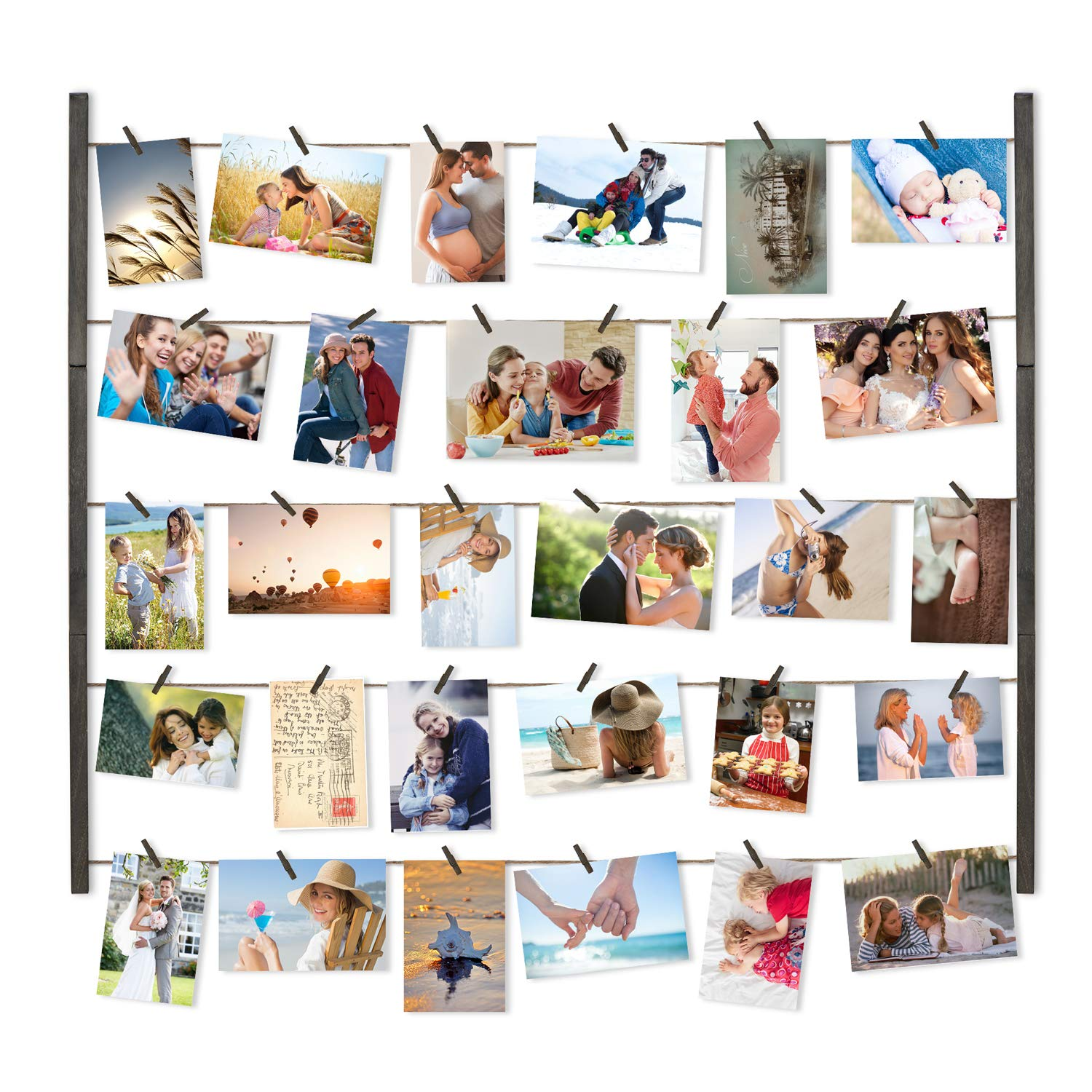 Love-KANKEI Wood Picture Photo Frame for Wall Decor 26×29 inch with 30 Clips and Ajustable Twines Collage Artworks Prints Multi Pictures Organizer and Hanging Display Frames Weathered Grey