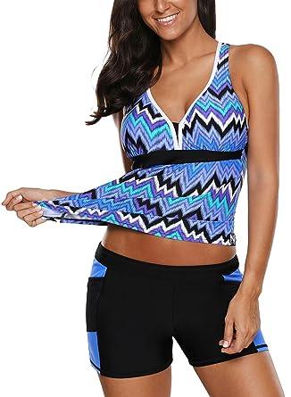 728ea53d388743 Amazon.com: JCJE Women's 2 Pieces Color Block Print Racerback Tankini  Swimsuit Set with Shorts: Clothing
