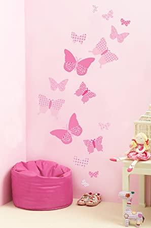 FunToSee Butterfly Wall Stickers Vintage Pink Amazoncouk Baby