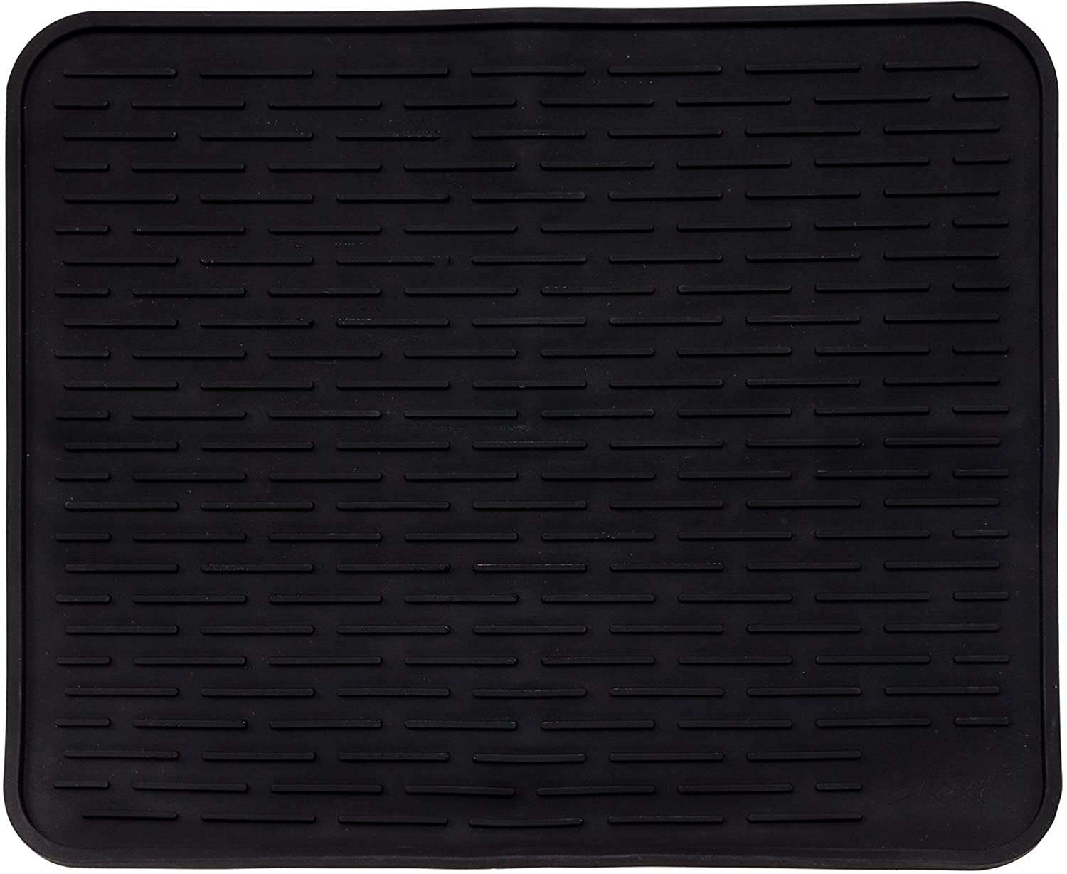"22"" x 18"" XL Silicone Dish Drying Mat - Large Dish Drainer Mat and Trivet by LISH (Black)"