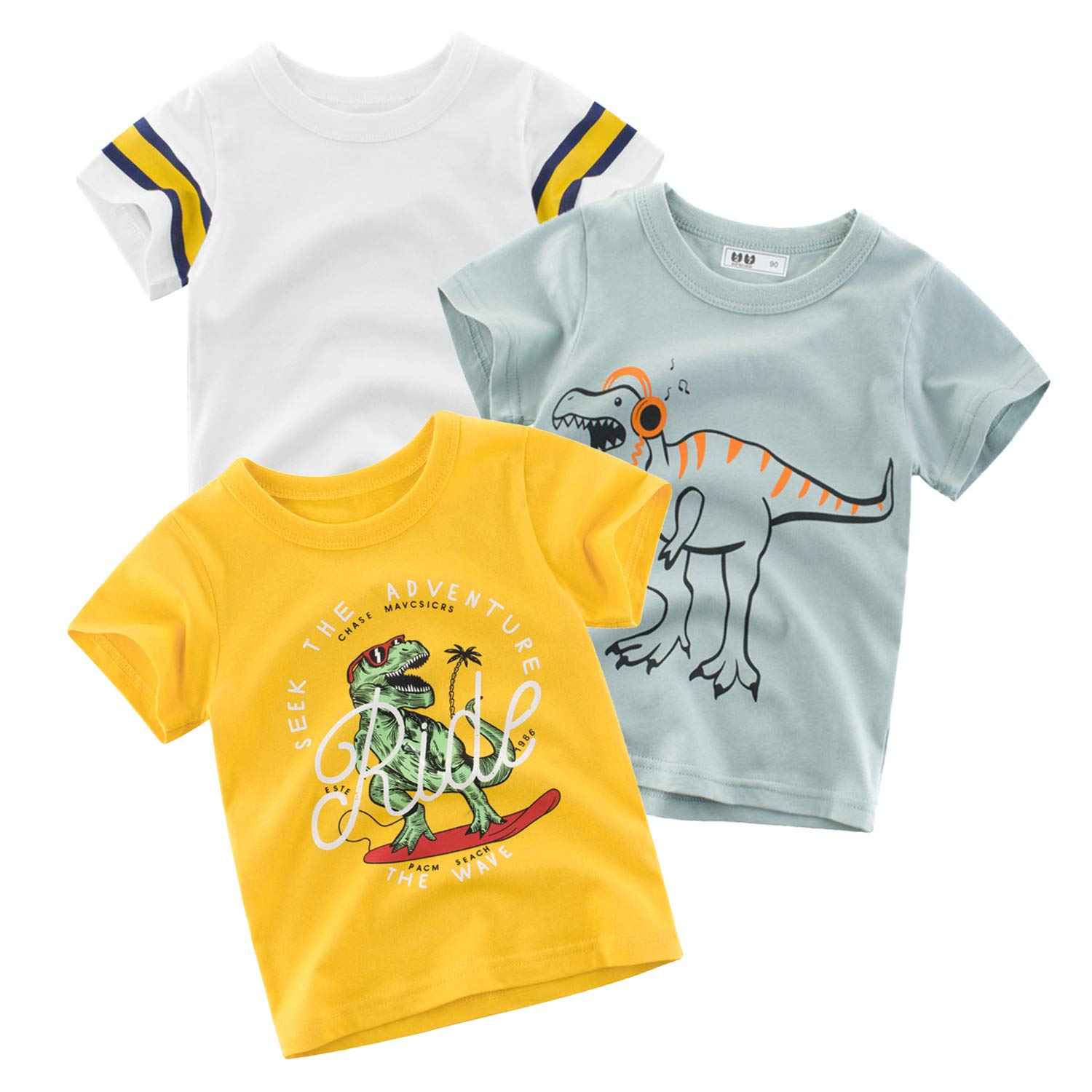 MALOMME Baby Boy Clothes Boys Shirt 3-Pack Toddler Boys Short-Sleeve Boy Gifts Assorted T-Shirt for Boys