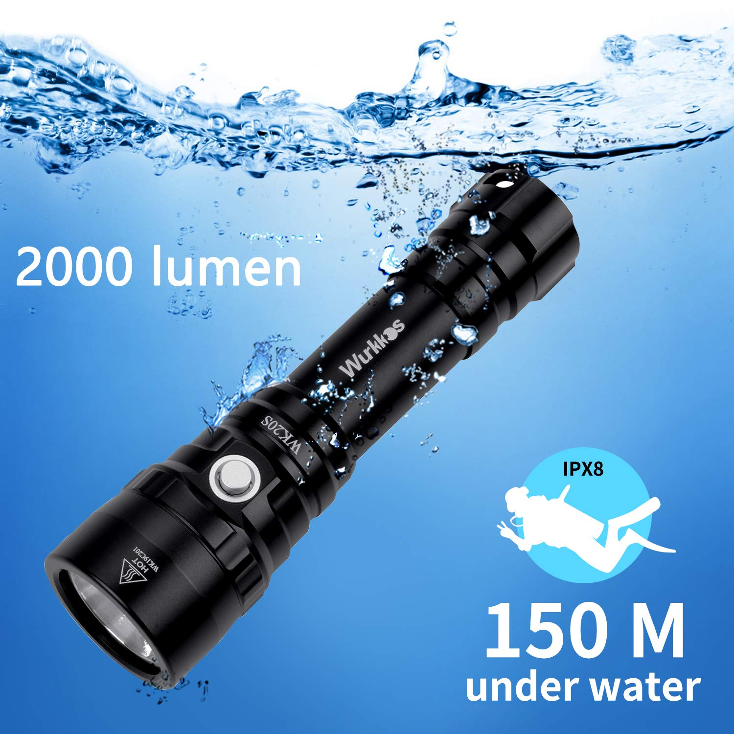 Diving Flashlight, Waterproof Scuba Diving Light 18650 with Cree XHP35 HD LED 5300K 4 Modes 2000 Lumens Underwater150m/164yard with Battery by Wurkkos