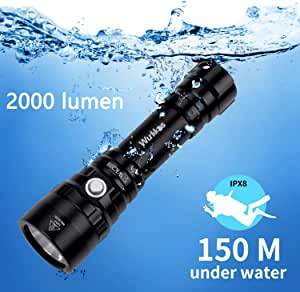 Diving Flashlight, Waterproof Diving Light Max 2000 Lumen Rechargeable Dive Flashlight Cree XHP35 HD LED,4 Modes Scuba LED Flashlight 150M Underwater Torch Included 1x 18650 Battery and ChargerG