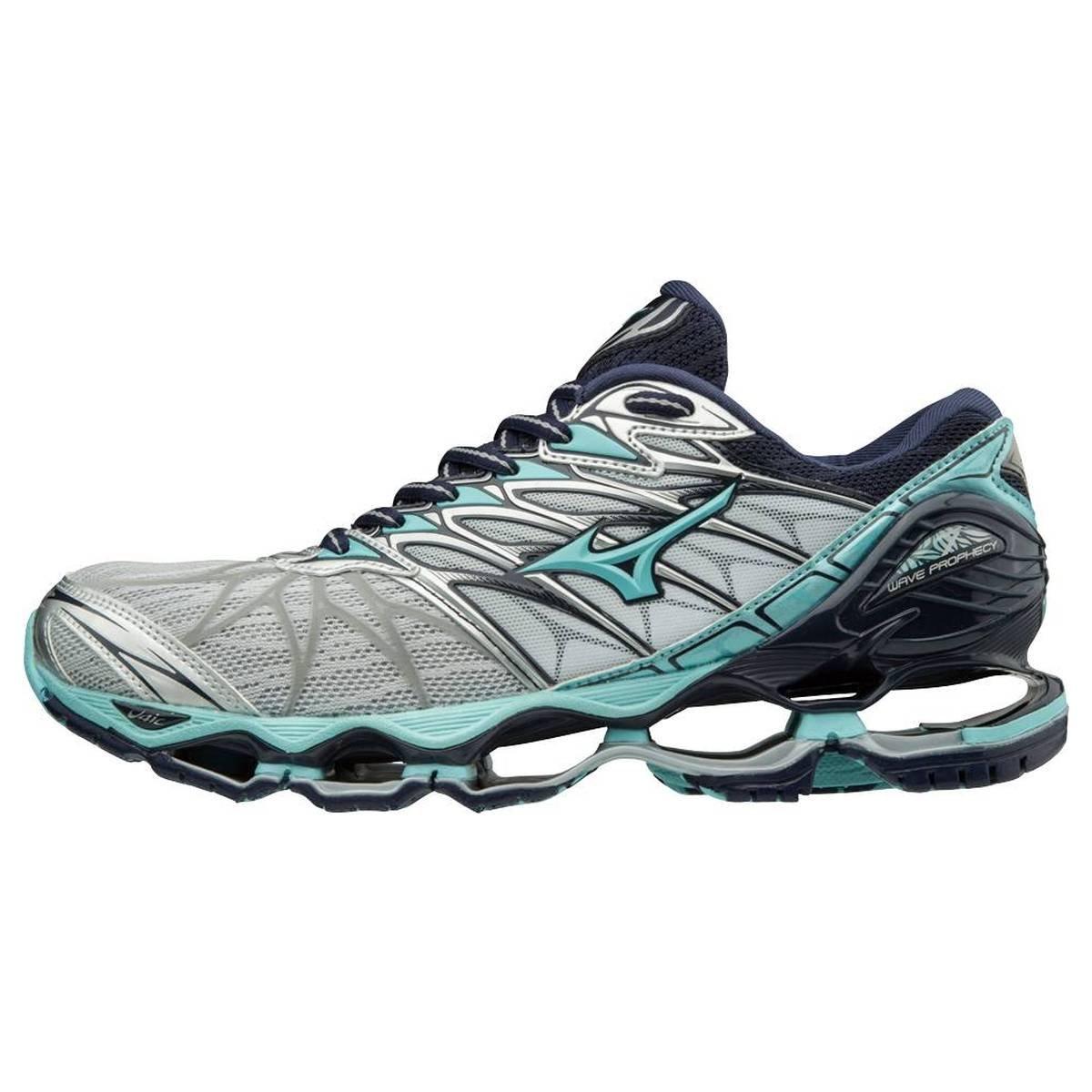 Mizuno Wave Prophecy 7, Zapatillas de Running para Mujer 38.5 EU|Gris (Silver/Aquasplash/Peacoat 31)