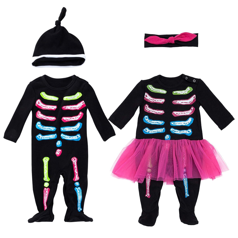 YuDanae Skull Bone Skeleton Romper Outfit Scary Halloween Costume for Toddler Baby Boys Girls 3-18 Months