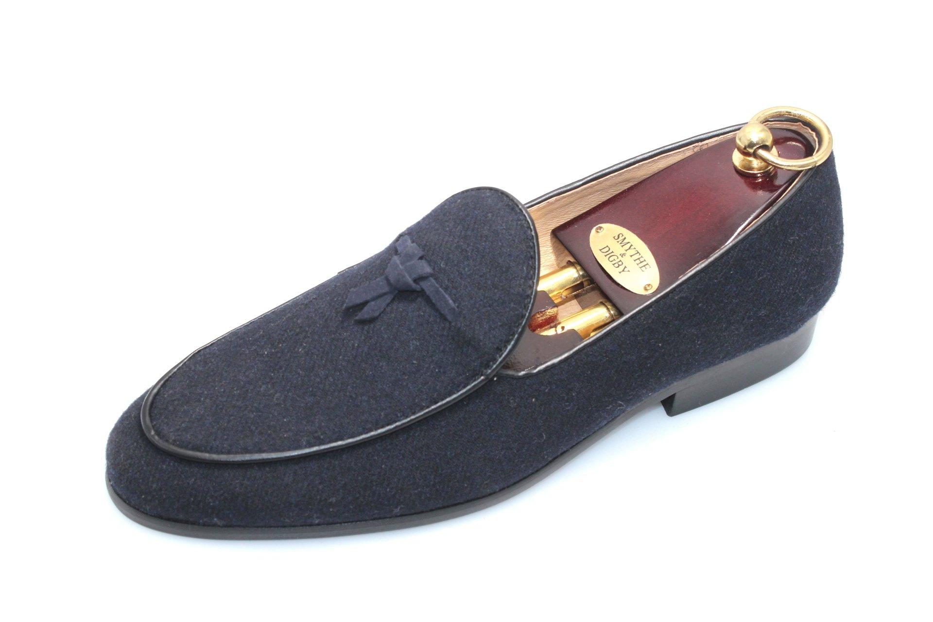 SMYTHE & DIGBY Men's Navy Blue Flannel Albert Slippers Leather Velvet Loafers (9.5)