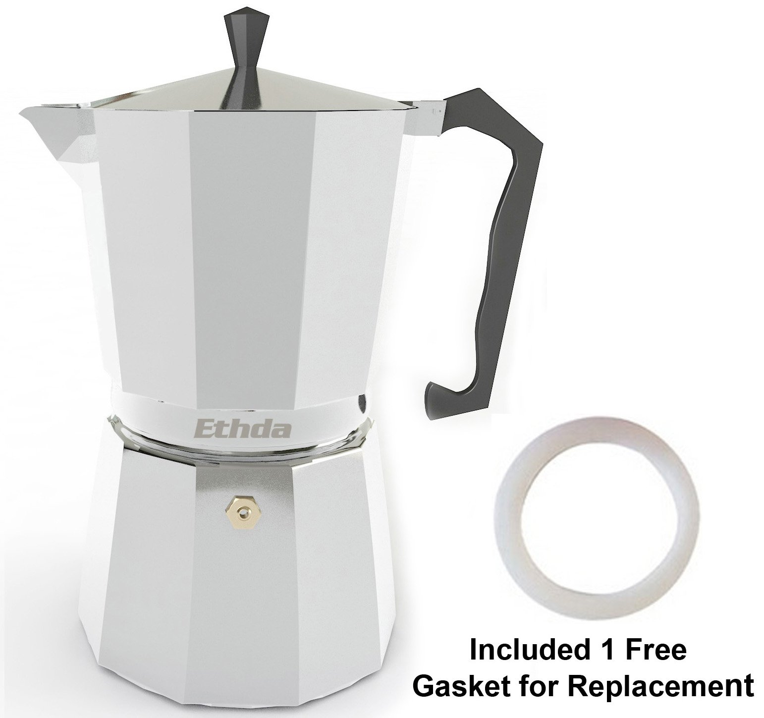 ETHDA Stovetop Espresso Maker, Moka Pot, Coffee Maker for Italian Cappuccino, Latte, Silver, Aluminum, Extra Gasket Included, Safety Valve, Strong Handle, On the Go Camping Pot (3 Cup)