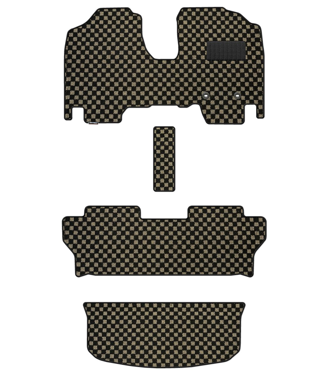 Hotfield ルーミー タンク 900系 フロアマット+トランクマット ◆カジュアルチェック フロントマット=一体仕様 チェックゴールド B01MSNSSD4 フロントマット=一体仕様|チェックゴールド チェックゴールド フロントマット=一体仕様