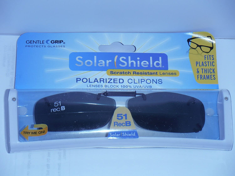 51 Rec B solar shield polarized clip-on sunglasses with driving lenses