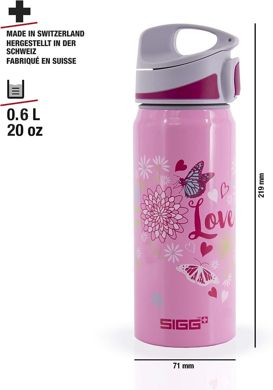 federleichte Trinkflasche aus Aluminium SIGG Miracle Alu Love Kinder Trinkflasche 0.6l schadstofffreie Kinderflasche mit auslaufsicherem Deckel