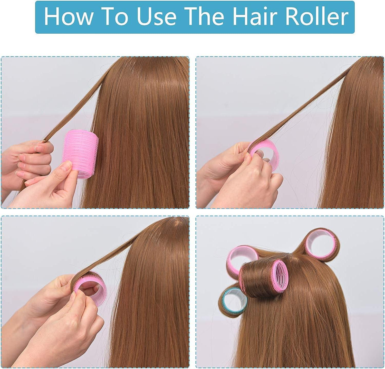 Juego de 24 rodillos de para el cabello con agarre automático, pinzas para el cabello, rulos para peluquería, 20 pinzas metálicas de pico de pato, 2 ...