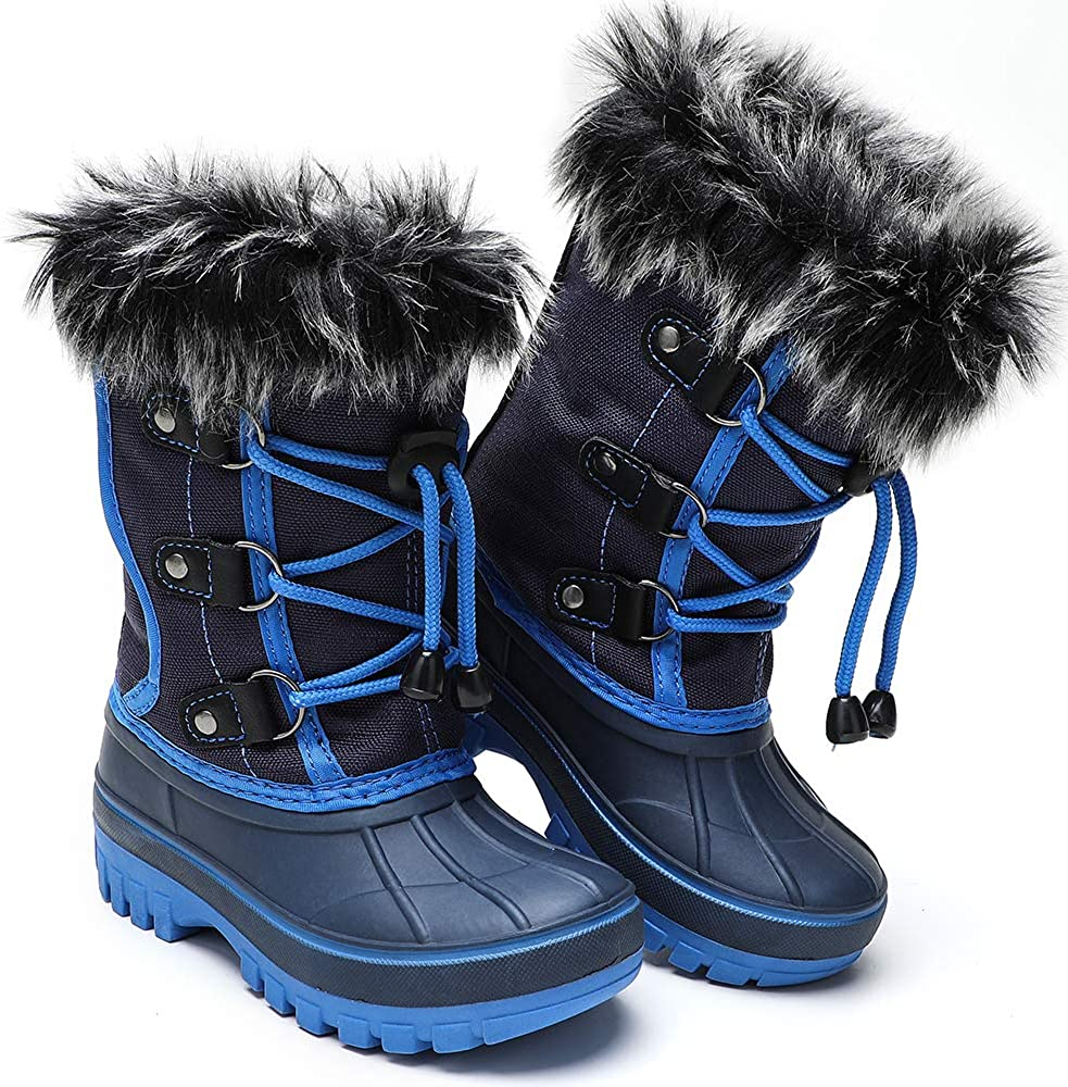 Kids Boys Girls Snow Boots Insulated Winter Fashion Ankle Fur Lined Ski Boot