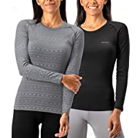 DEVOPS Women's 2 Packs Thermal Heat-Chain Compression Baselayer Tops R-Neck Long Sleeve T-Shirts