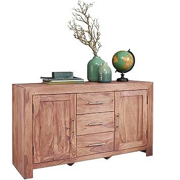 Wohnling Sideboard Massivholz Akazie Kommode 118 Cm Mit 3 Schubladen