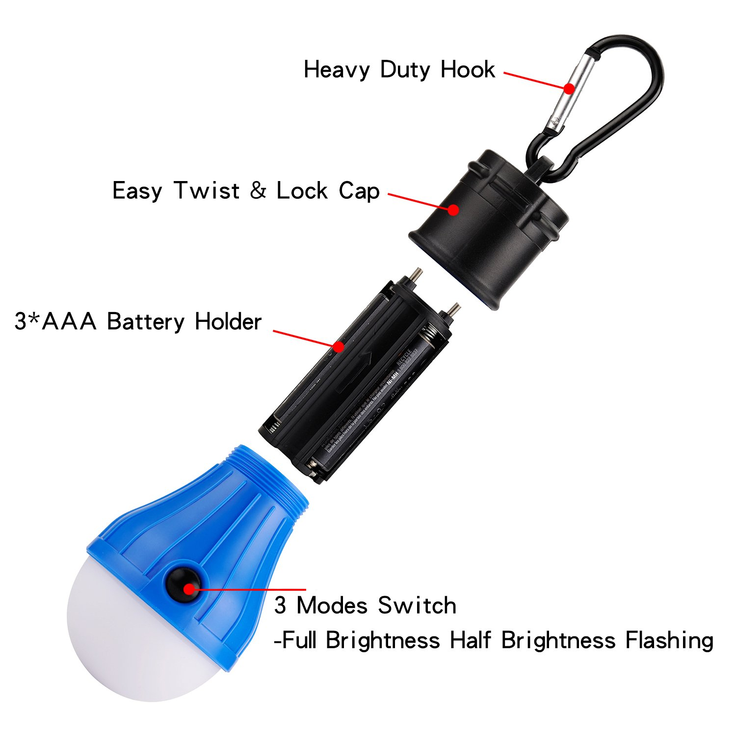Portable LED Lantern Tent Light Bulb for Camping Hiking Fishing Waterproof Emergency Light Battery Powered Camping Lamp Battery Powered Camping Equipment Gear Gadgets Lamp for Outdoor /& Indoor JICHIA