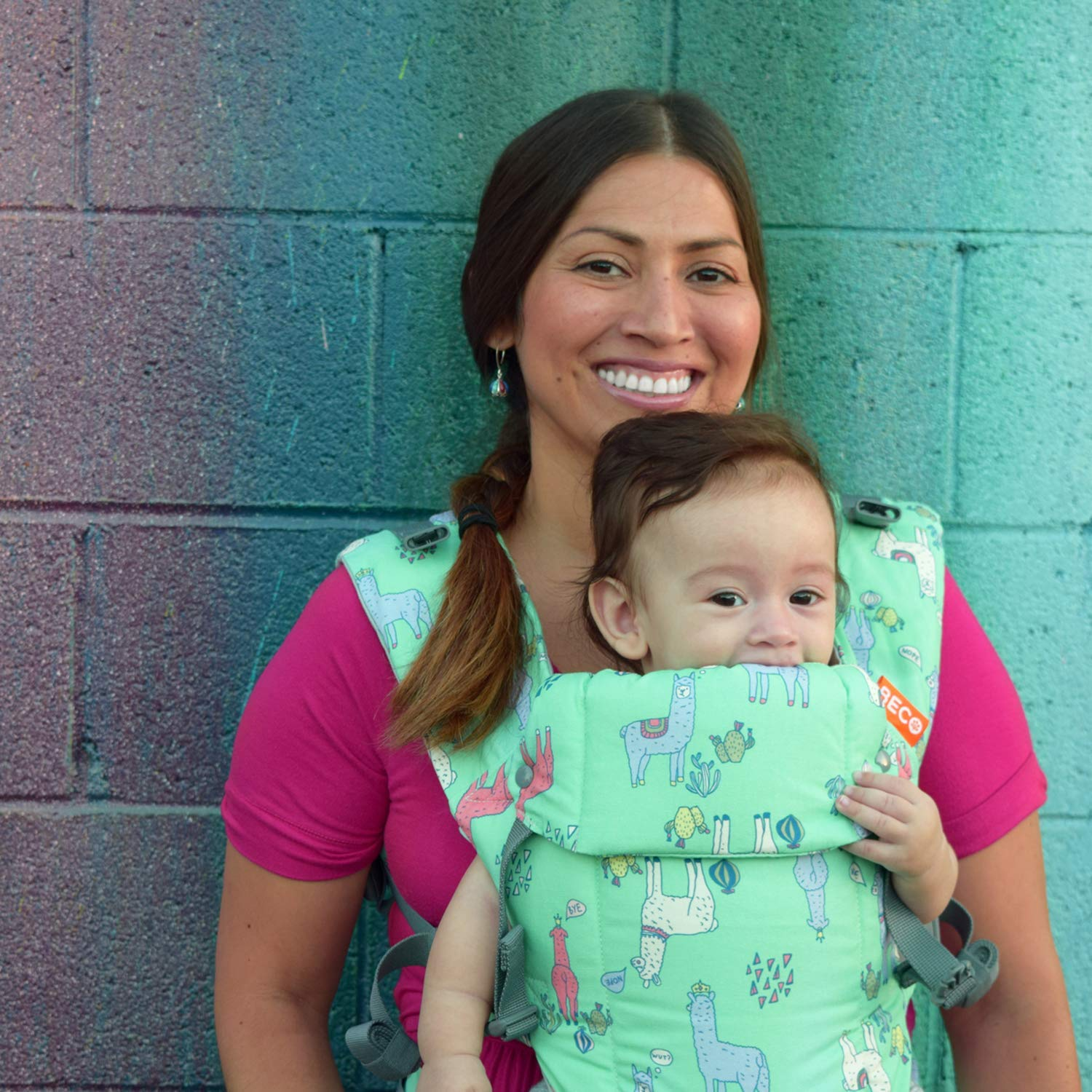Beco Gemini Baby Carrier Geo Dusty Pink Infants and Child from 7-35 lbs Certified Ergonomic Sleek and Simple 5-in-1 All Position Backpack Style Sling for Holding Babies