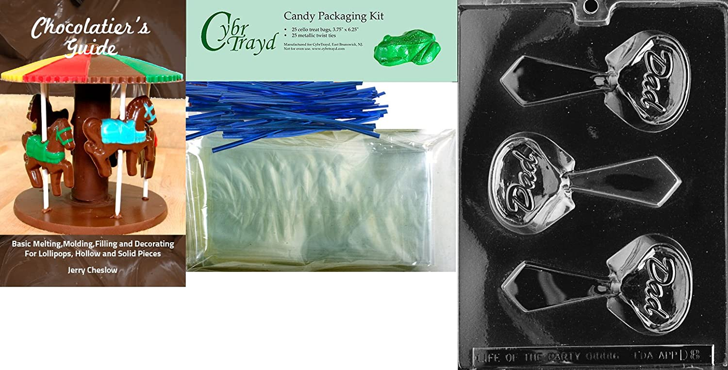 Includes 25 Lollipop Sticks 25 Blue Twist Ties and Chocolatiers Guide Cybrtrayd Button Lolly Baby Chocolate Candy Mold with Chocolatiers Bundle 25 Cello Bags
