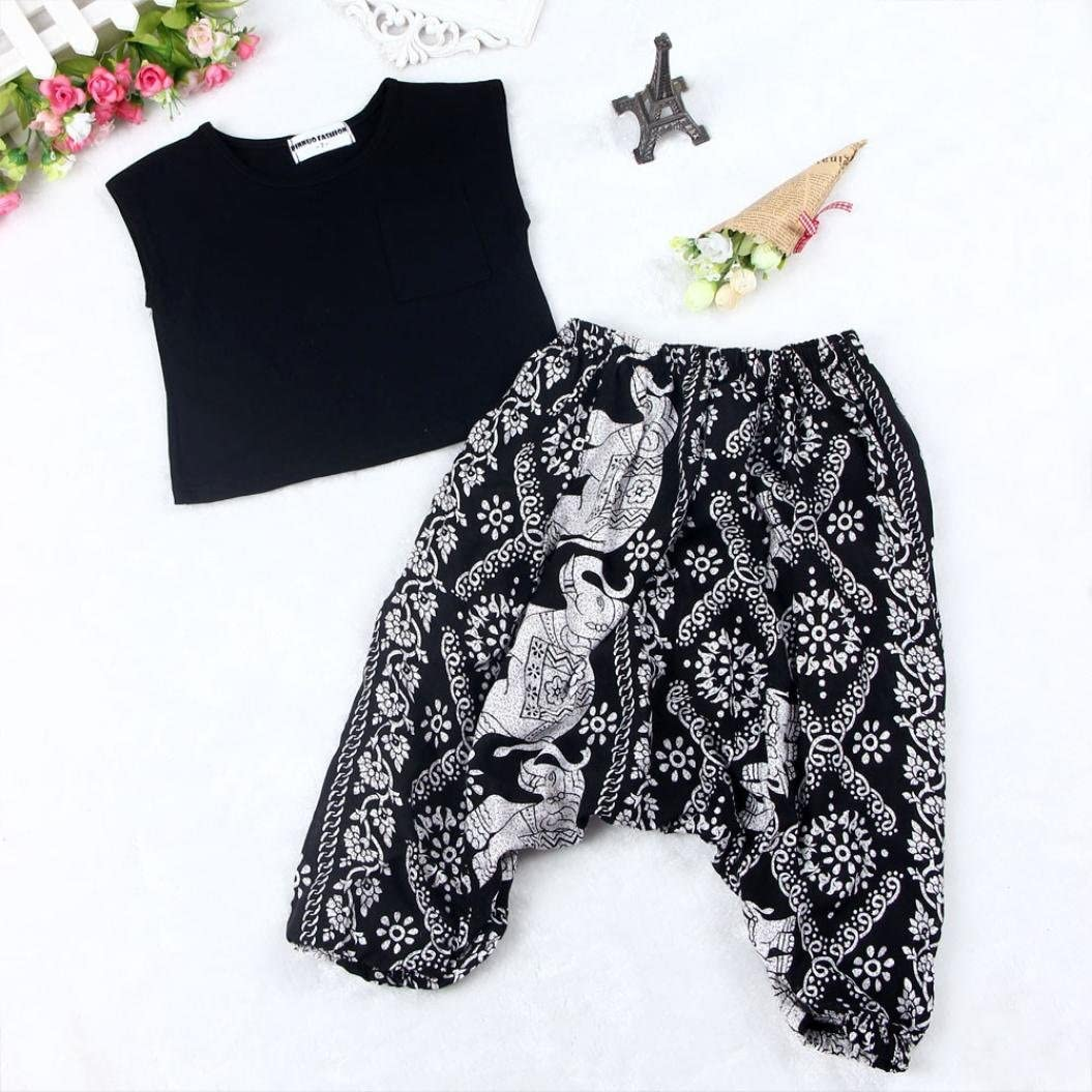 Age:0-12M Welcomeuni Toddler Set Baby Girl Solid T-Shirt+Floral Plus Fours Set