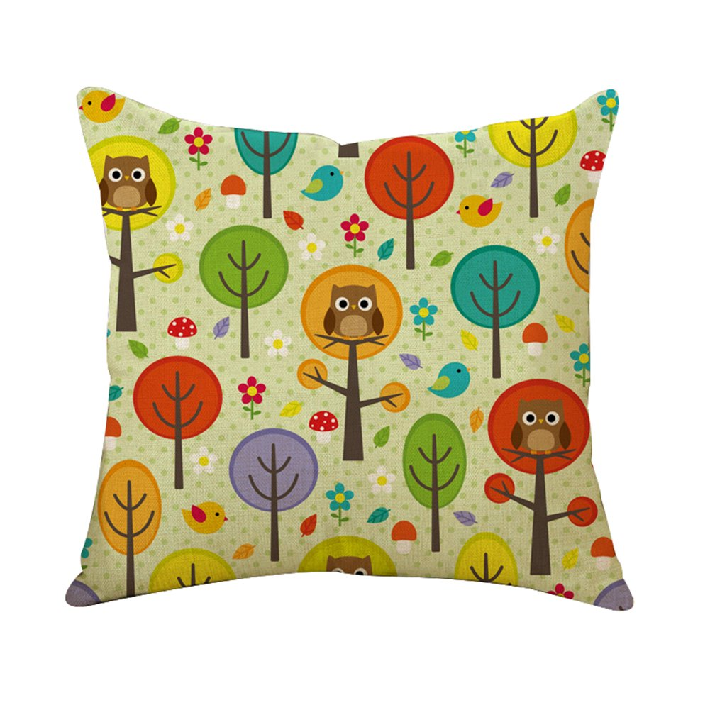 Wicemoon Housse de Coussin, Beautiful Flowers Printed Cotton Linen Decorative Pillow Cushion Cover