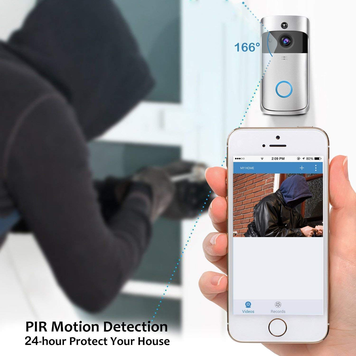App Control for iOS and Android PIR Motion Detection Two-Way Audio LucBuy 2.4GHz 720P Wireless Doorbell Camera with Real-time Video WiFi Video Doorbell Night Vision