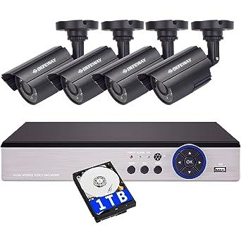 DEFEWAY Kit de Cámaras de Vigilancia Seguridad, 8CH 1080N DVR Con 4 x 720P Con