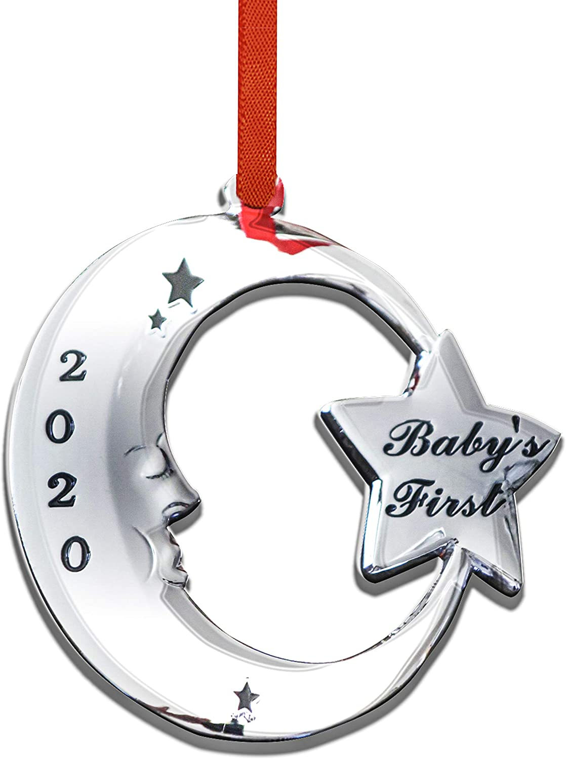 Holiday Jingle Baby First Christmas Ornament 2020 – 3.25 x 3 Inch Moon Design Premium 2020 Ornament - My First Christmas Tree Decoration – Includes Hanging Red Ribbon and Silver Mesh Bag