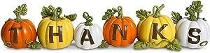 LiveWell Brands Thanks Pumpkin Decor Set, Fall and Thanksgiving Home Decoration, 6pc Set