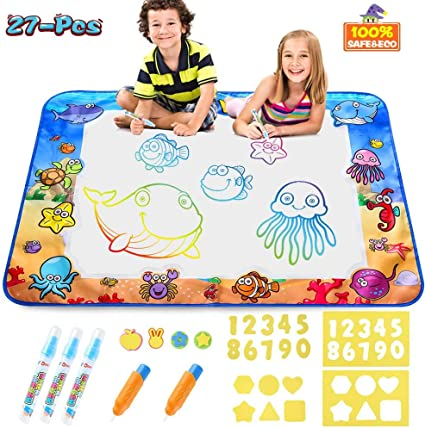 EAHUMM Aqua Magic Mat for Kids 40 X 27 Inches Toddlers Large Water Drawing Doodling Mat Painting Writing Drawing Mat with Pens and Molds Educational Toys for Age 3 4 5 6 7 8 Year Old Girls Boys