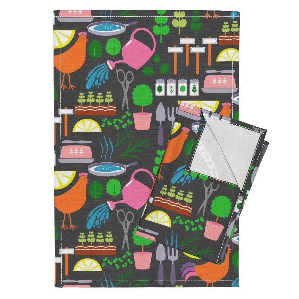 Herbs Barn Country Water Gray Herb Garden Tea Towels Green Goodness by Mrshervi Set of 2 Linen Cotton Tea Towels