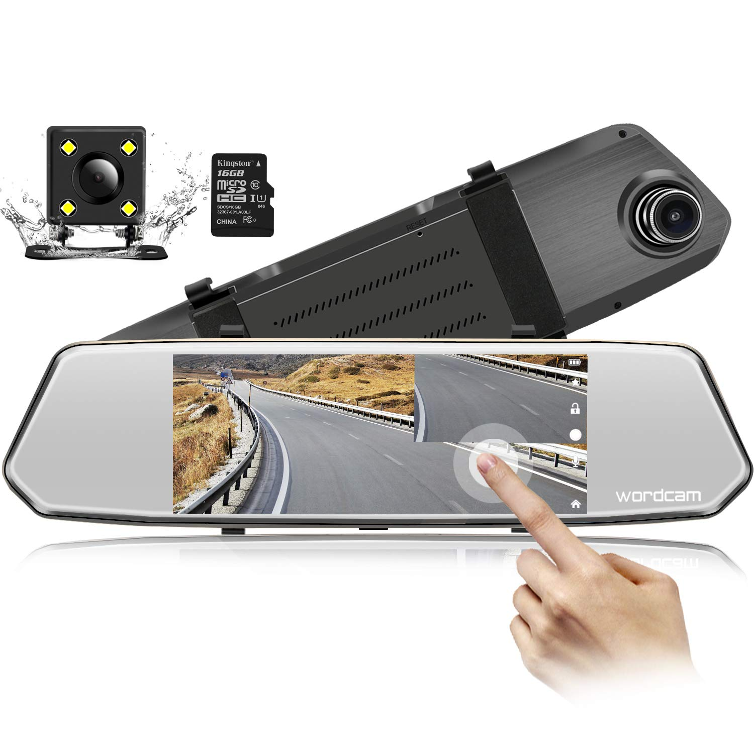7-Inch Touch Screen Backup Camera Mirror Dash Cam 1080P Front and Rear Dual Lens with Waterproof Rearview Reversing Camera(Free 16GB SD Card) by Wordcam
