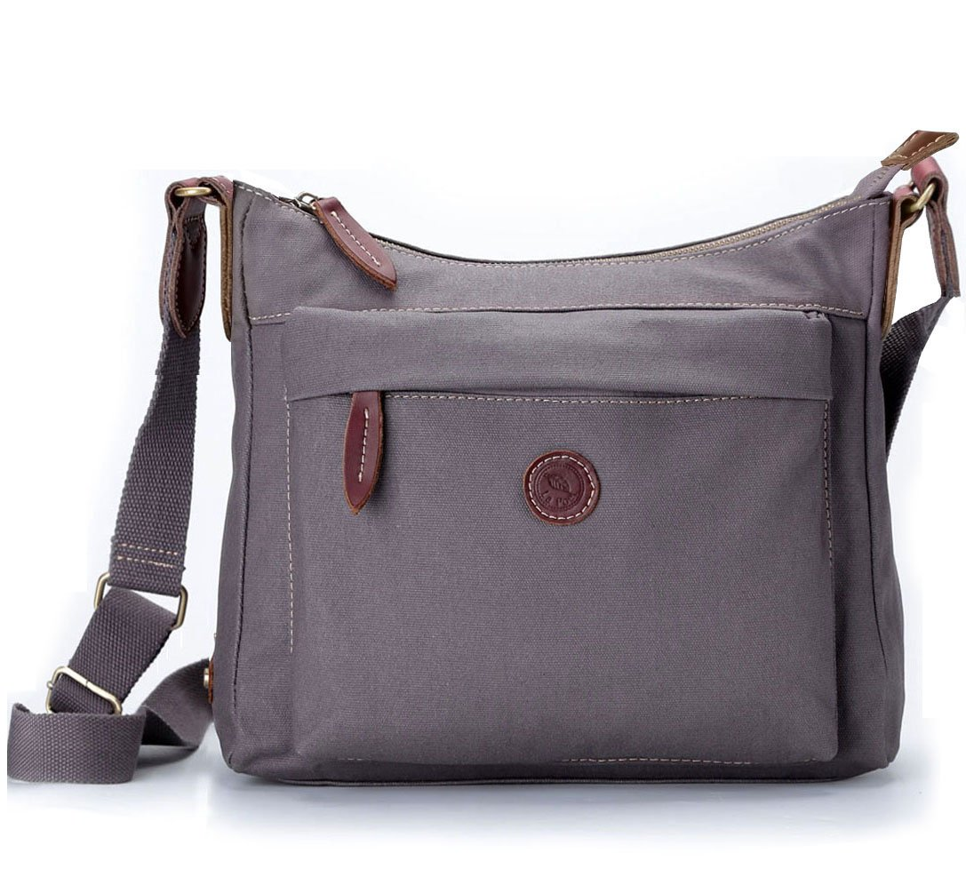 La Poet Women's Small Hobo Shoulder Handbag Crossbody Bag Purse Water Resistant Waxed Canvas Travel (Grey)