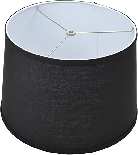 FenchelShades.com 13 Top Diameter x 15 Bottom Diameter x 10 Height Fabric Drum Lampshade Spider Attachment Designer Linen Black