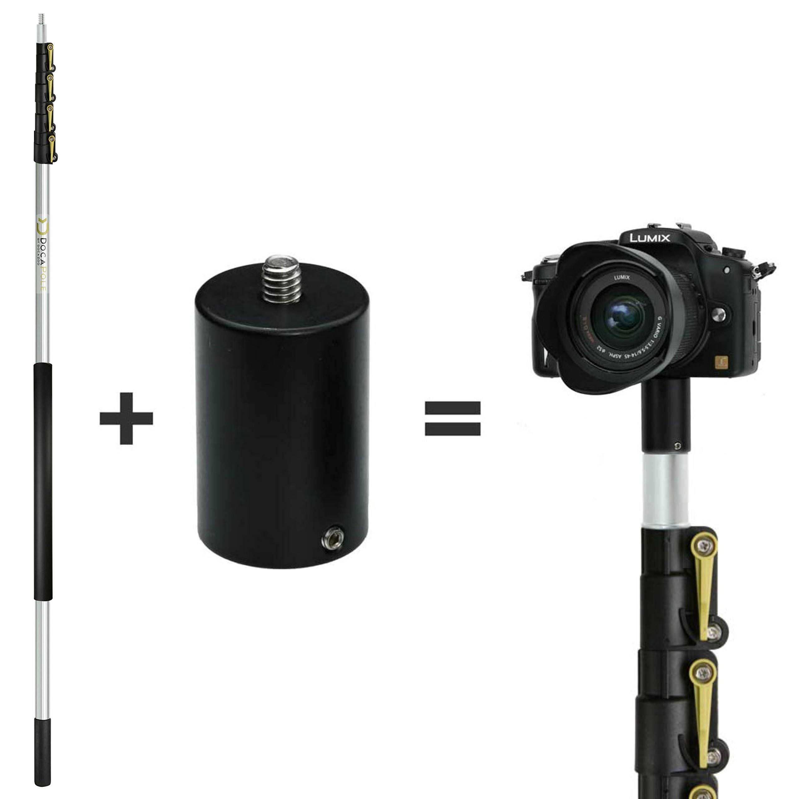 DocaPole 24 Foot Camera Pole - 6-24 ft Extension Pole + ClickSnap Camera Adapter for GoPro, Camera or Video Camera | Provides up to 30 Feet of Reach | Painters Pole Camera Adapter by DOCAZOO