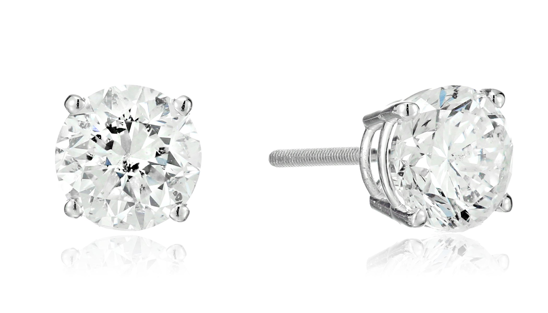 14k White Gold Round Cut Diamond Screw Back and Post Stud Earrings (2cttw, H-I Color, I2 Clarity)