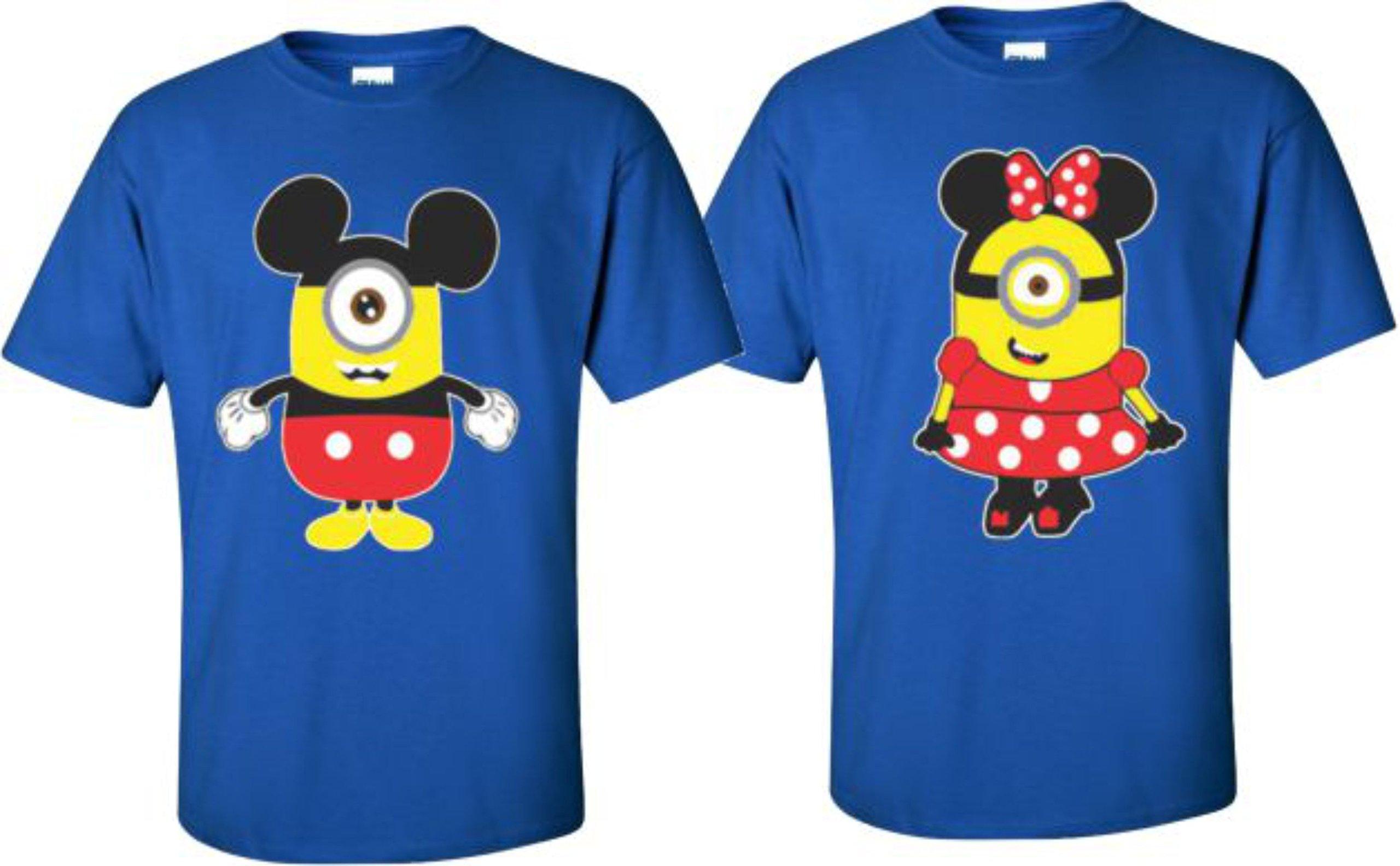 Minions Minnie/Mickey Mouse T-Shirts Matching Disney Couples T-Shirts (X-Large Mickey, Blue)