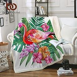 Beddingoutlet Flamingo Velvet Plush Throw Blanket Tropical Plant Girls Bedding Sherpa Blanket for Couch Flower by