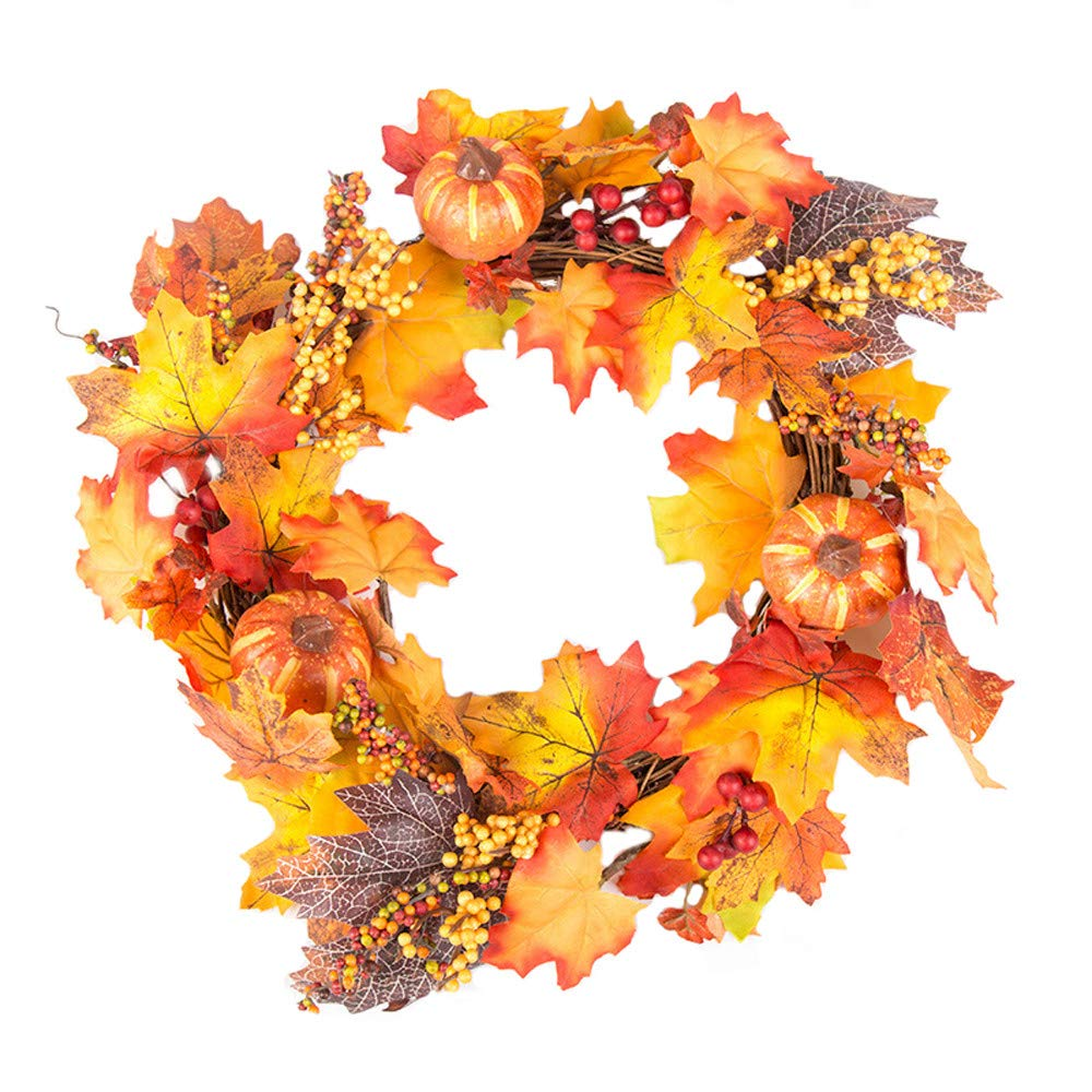 Dowager 15.7 Inch Autumn Artificial Maple Leaf Wreath for Front Door, Home Décor for Window Wall Sunflowers Leaf Pumpkins and Berries for Home Indoor Outdoor by Dowager_Home Decor