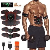 Mansso EMS Muskelstimulator LED Display Bauchmuskeltrainer Set für effektives Bein-/Armtraining, Muskelaufbau und Fettverbrennung Home Fitness Maschine Unisex