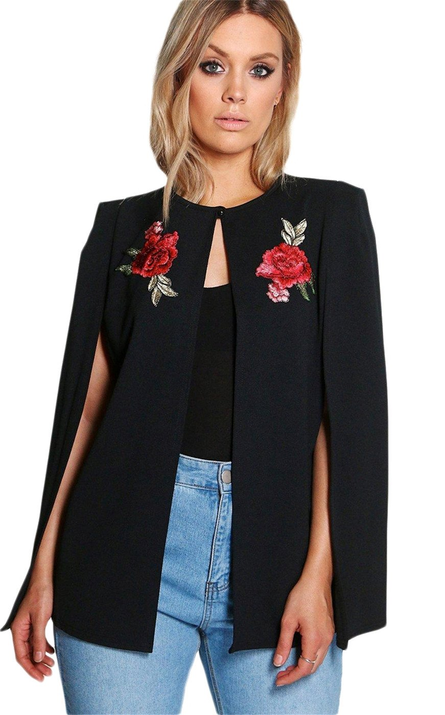 Arctic Cubic Sexy Floral Embroidery Embroidered Cloak Poncho Cape Style Split Slit Long Sleeve Blazer Jacket Suit Top Black US 20