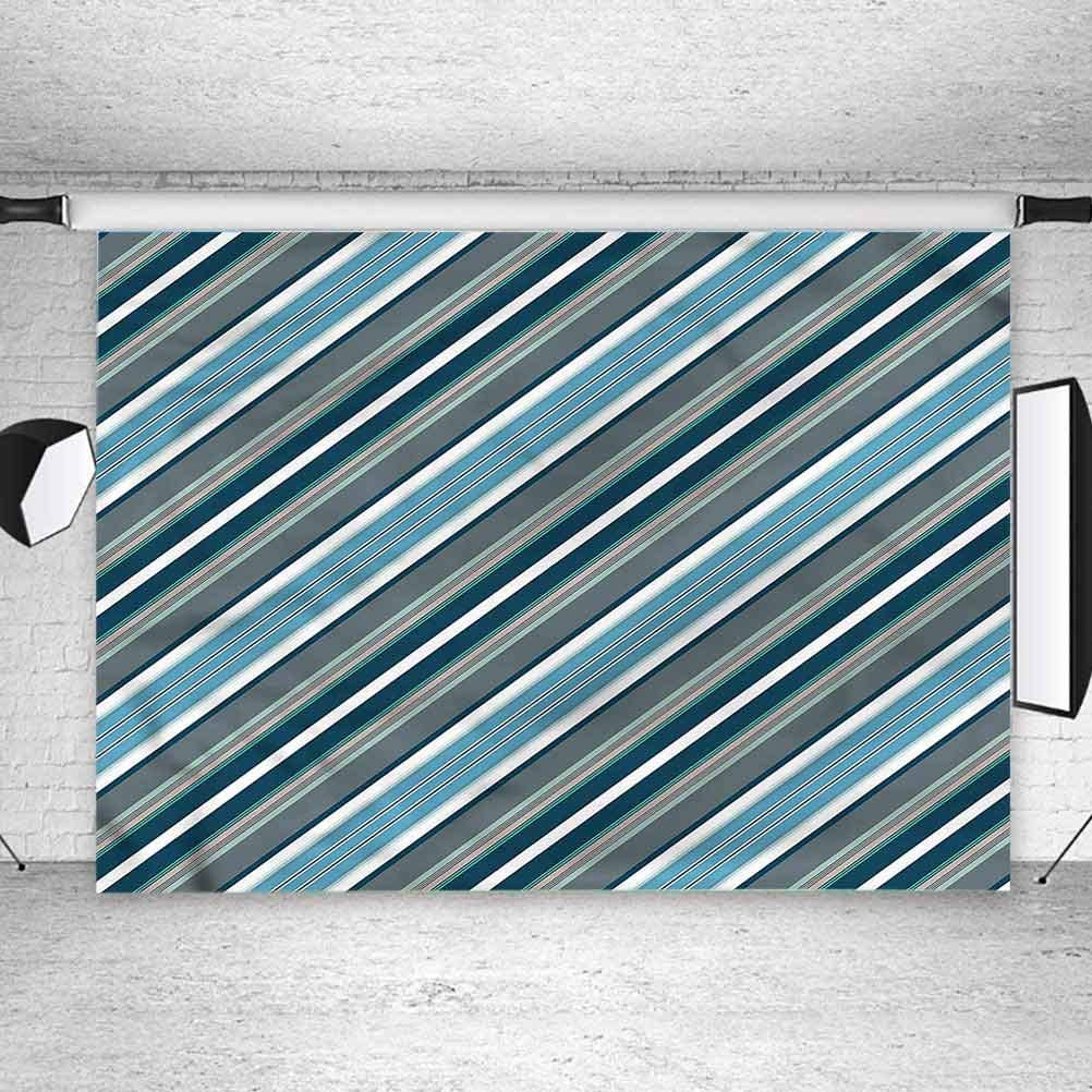 6x6FT Vinyl Backdrop Photographer,Striped,Gray and Blue Diagonal Background for Party Home Decor Outdoorsy Theme Shoot Props